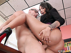Kinky lady boss Lela Star watches porn and fucks employee in office
