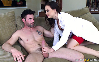 Doctress Chanel Preston fucks her big cock patient and swallows cum