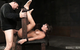 Obedient Charlotte Cross gets fucked from both ends by her masters