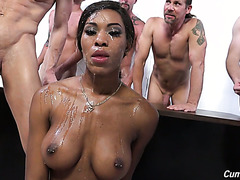 Herd of white fellas gang bang and cum all over hot ebony Nadia Jay