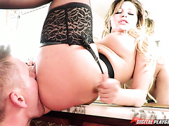 Anna Polina a Russian gal in stockings prefers to take it in her ass