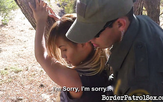 Yet another dirty immigrant girl got fucked by border patrol officer