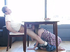 Katy Kiss gives head under a table and passionately fucks on a bed