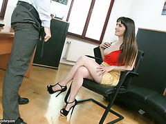 Natty Mellow fucks her husband's employee in office