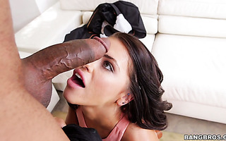 Loose whore Adriana Chechik serves her holes for black monster cock