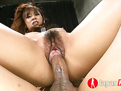 Asian slut Asuka gets fucked and creampied at a warehouse
