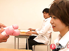 Asian coed Akina Hara gets toyed and facialized by a teacher and studs