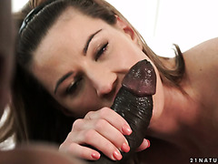 Charming Euro sexbomb Athina has some butt fun with big black cock