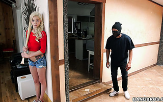 Elsa Jean fucks a black robber who turns out to be her dad's employee