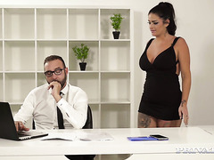 Chubby Spanish secretary Raquel Adan takes boss's tiny cock up her big butt