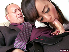 Ebony cutie Alyssa Divine pleases filthy old gentleman