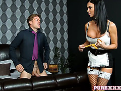 Dirty housemaid Jasmine Jae gets fucked and toyed with an umbrella