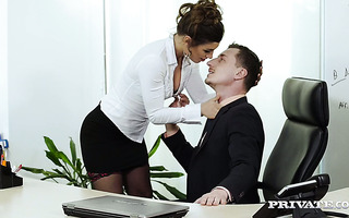 Spanish secretary in stockings Julia Roca gets fucked in hairy pussy