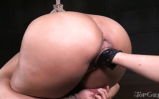 Bondaged Penny Barber gets clothespinned and fisted by nasty Rain Degrey