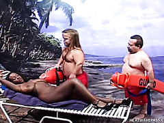 Two white midget lifeguards fuck busty black chick
