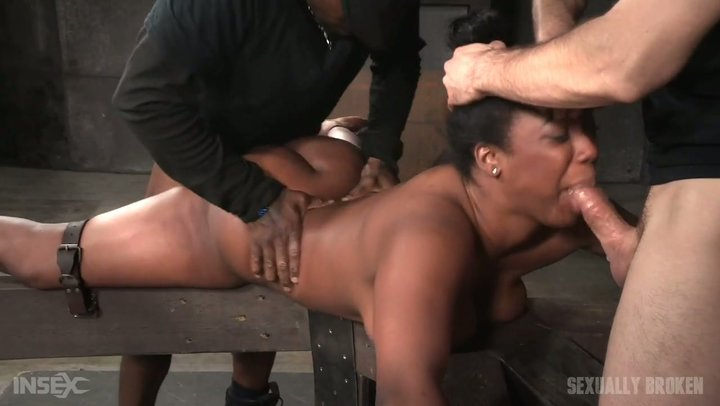 Two ruthless fellas fuck the shit out of bondaged black girl Lisa Tiffian