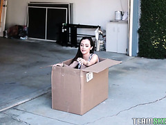 Tiny and petite Lily Jordan ships herself in a box to fuck her boyfriend