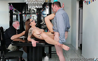 Geezer gets treated with 18 yo slut Akira Shell on his 68th birthday
