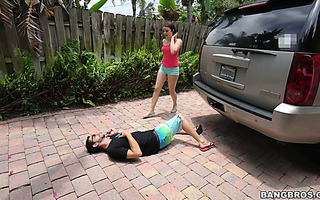 Kylie Quinn hits her stepbro by a car and fucks him to makeup for it