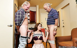 Two old farts are penetrating Naomi Alice's young and sexy body