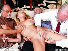 Three dirty old farts enjoy fucking a sexy college girl Raylin Ann