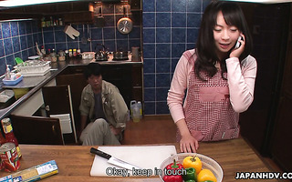 A plumber feeds a lonely Japanese housewife Nozomi Hazuki with his dick