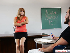 Mature teacher Darla Crane fucks her student during anatomy lecture
