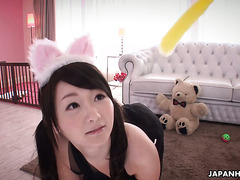 Kawaii as fuck Jap girl Chinami Kasai has a threesome