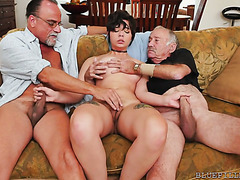Teeny brunette Sydney Sky finally gets a threesome with geezers