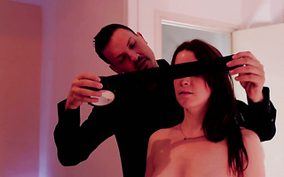 Blindfolded Irina Vega gets whipped and fucked in standing doggystyle