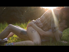 Luna Ruiz has a romantic sex with her BF in a forest after shooting practice