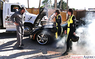 Race girls Dillion Harper and Karlee Grey bang tow truck guy for helping them out