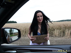 Nicole Love fucks a guy in a car to get a ride to Prague