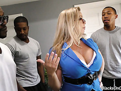 Four black fellas provide landlord's wife Amber Lynn Bach with their dicks