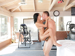 Half Native American exotic babe Janice Griffith squirts on a well hung cock